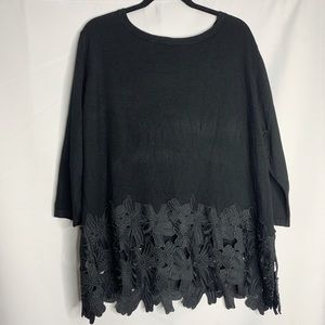 Lane Bryant black floral cut out blouse 22 24
